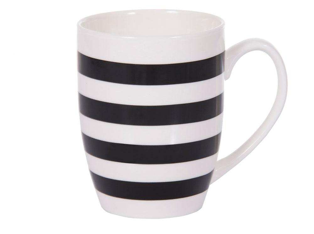 Kubek porcelanowy Glamour paski czarne 380 ml AMBITION