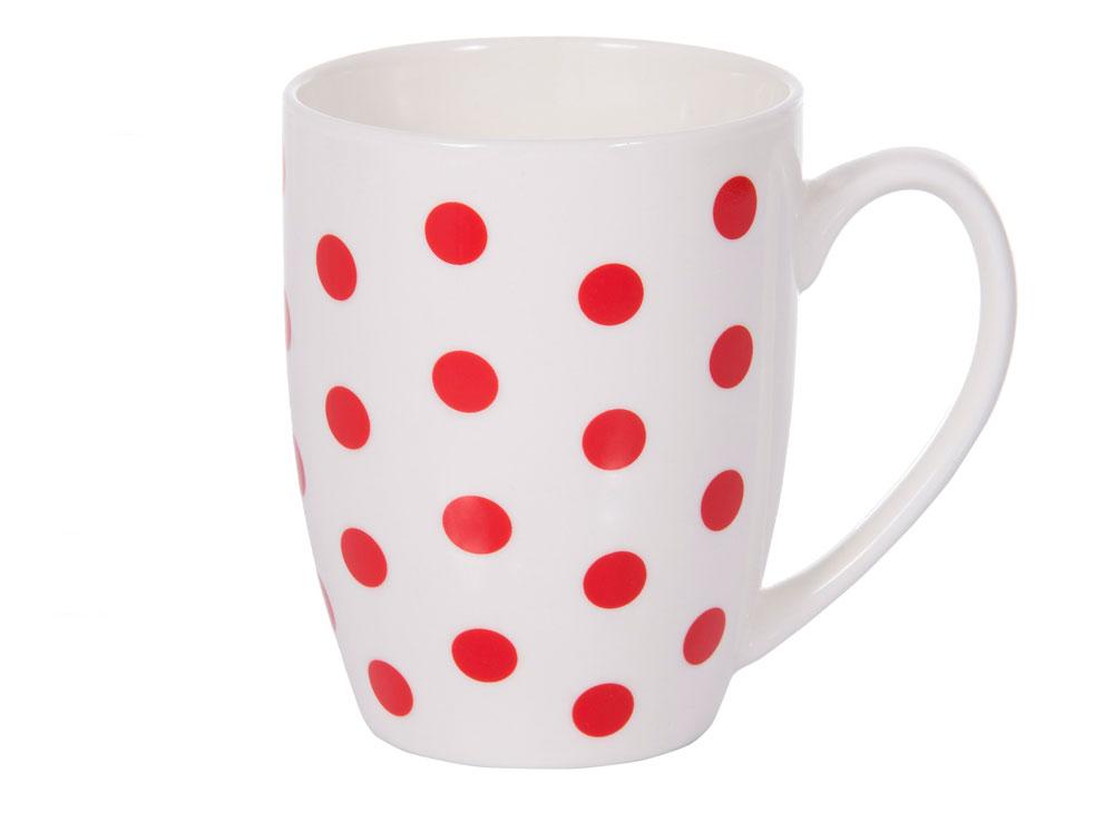 Kubek porcelanowy Glamour groszki czerwone 380 ml AMBITION