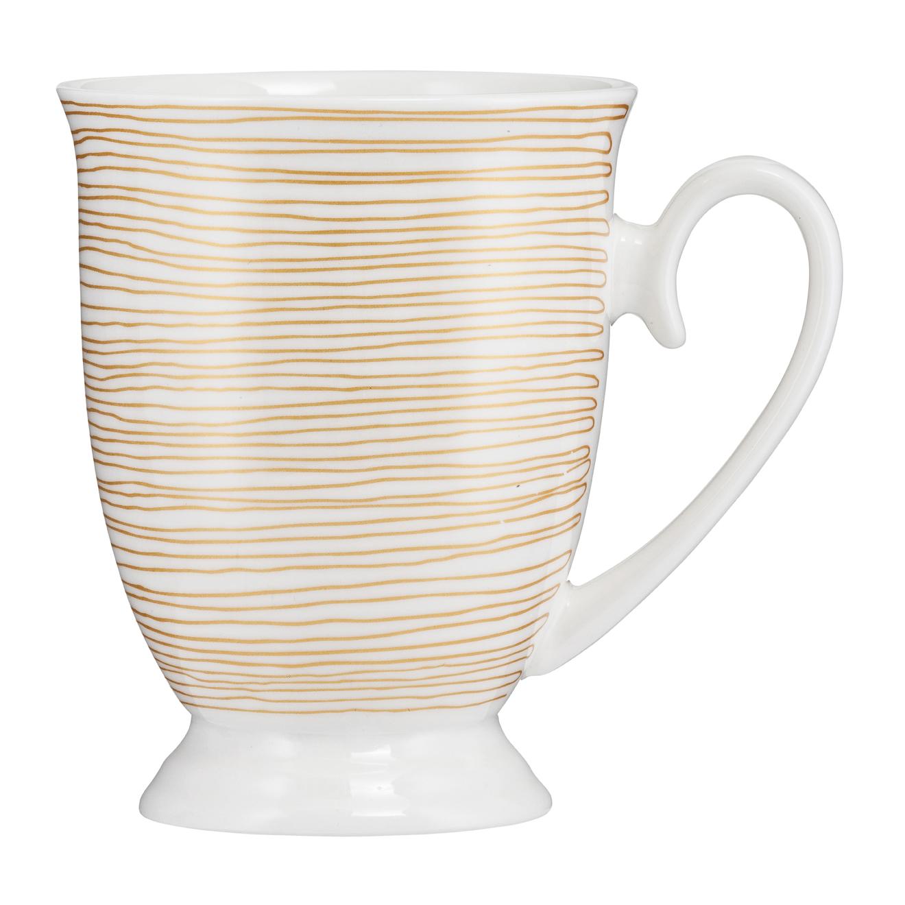 Kubek porcelanowy Diana Paski Złote 300 ml AMBITION