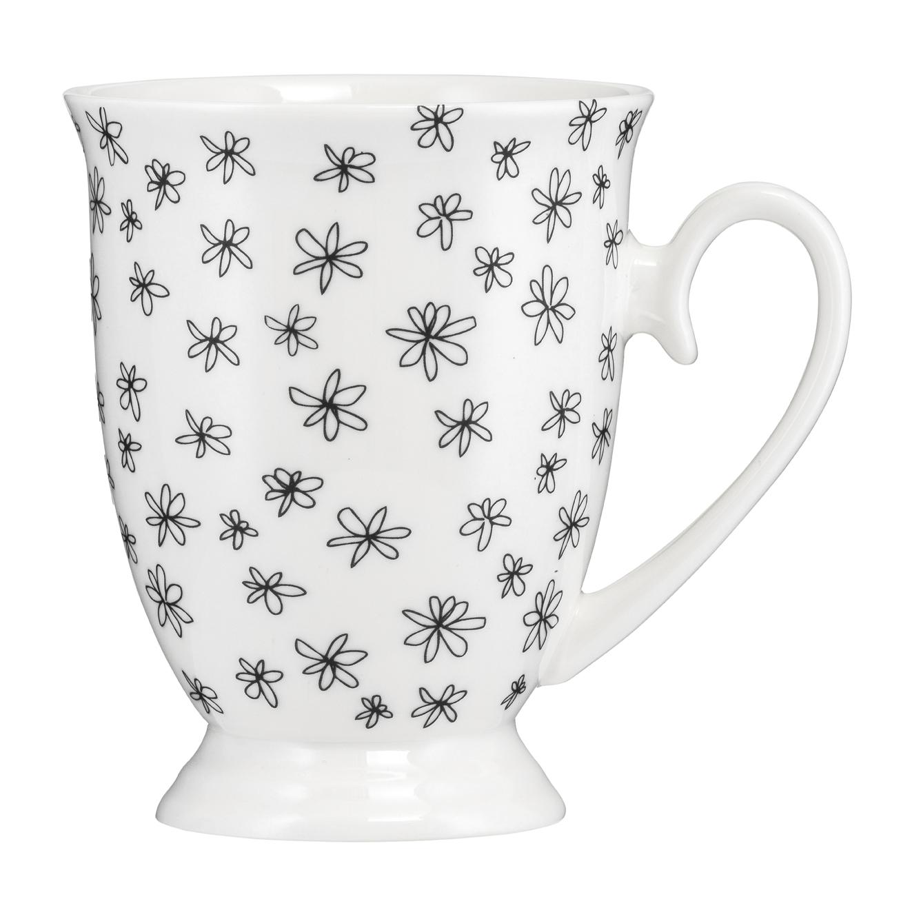 Kubek porcelanowy Diana Kwiatki Czarne 300 ml AMBITION