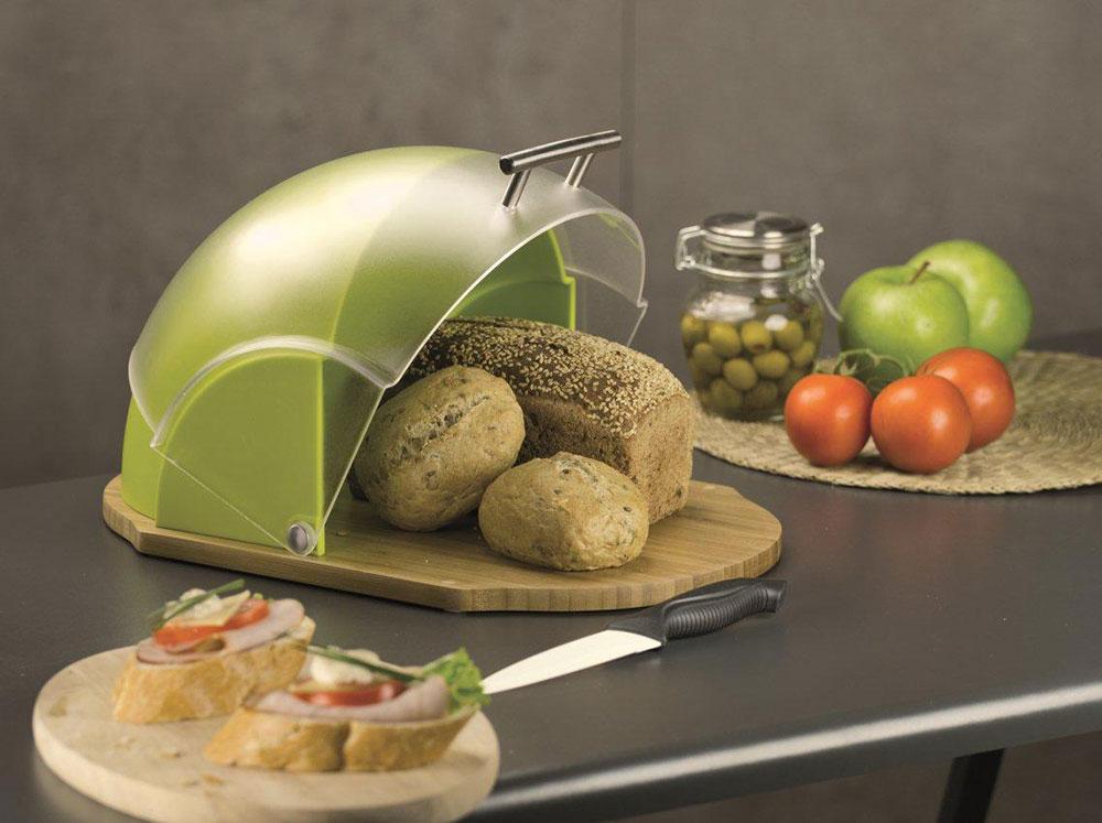 Chlebak drewniany z plastikową pokrywą Vader 39 x 26,5 x 20 cm zielony AMBITION